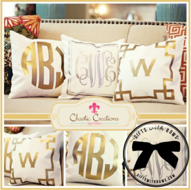 Chaotic Creations by Kristen :: Metallic Monogrammed Pillow :: $50 :: as featured on Gifts with Bows #giftswithbows #GWB
