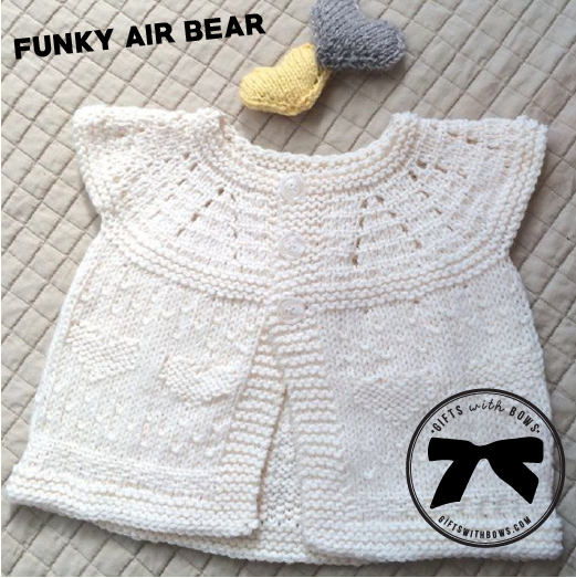 Funky Air Bear :: Knit Baby Cardigan :: $22.99 :: as featured on Gifts with Bows #giftswithbows #GWB