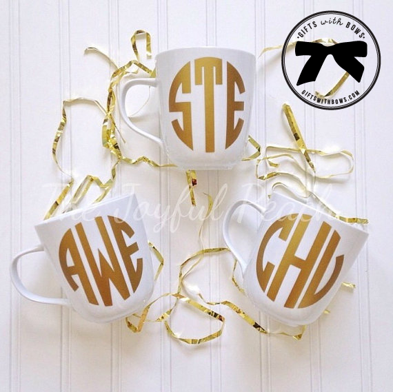The Joyful Peach :: Monogrammed Coffee Mug :: $15.50 :: as featured on Gifts with Bows #giftswithbows #GWB