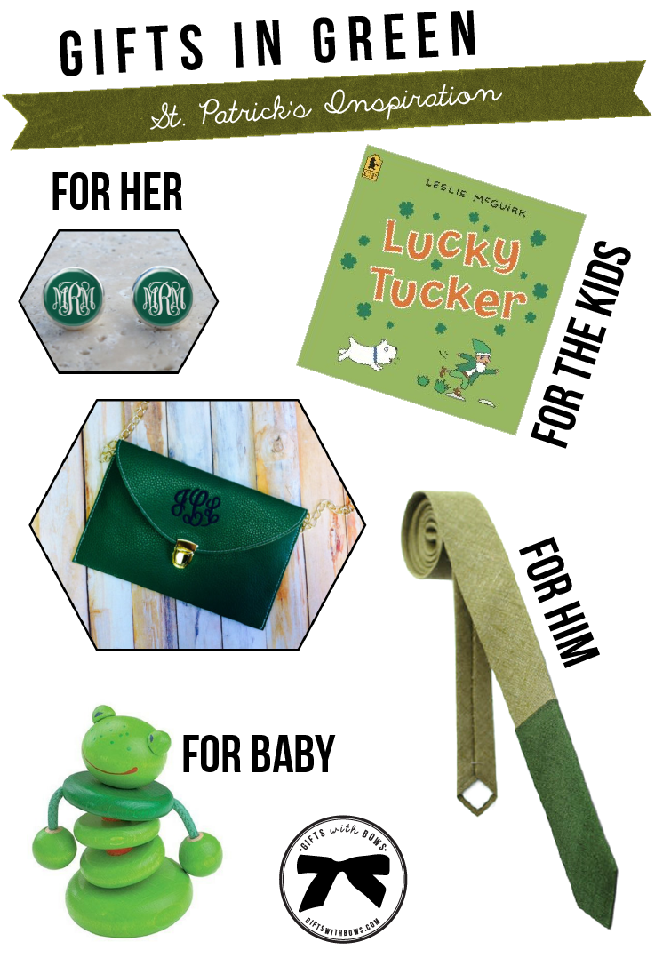 happy st patricks day gifts in green gifts with bows