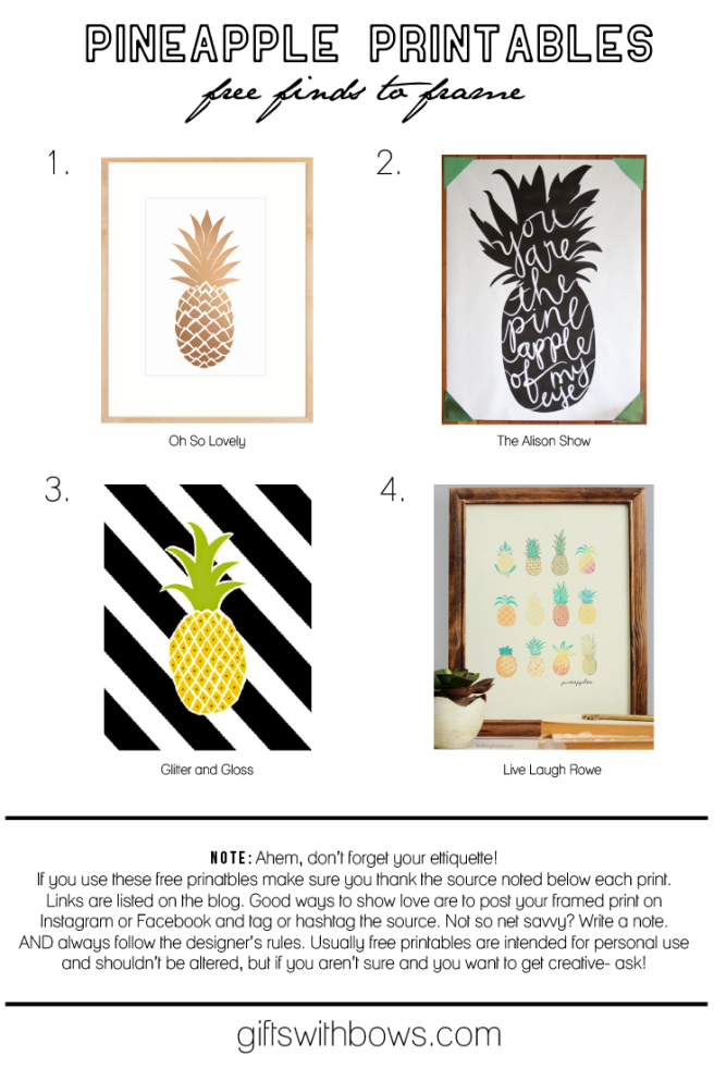 Pineapple Everything :: FREE Printables :: #giftswithbows #gwb #pineapples #ohsolovely #thealisonshow #glitterandgloss #livelaughrowe