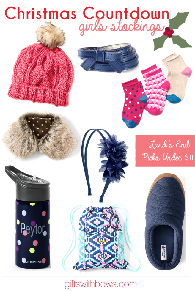 Christmas Countdown :: Girls Stockings :: Land's End Picks Under $11 :: as featured on Gifts with Bows #giftswithbows #GWBChristmasCountdown #GWB #landsend