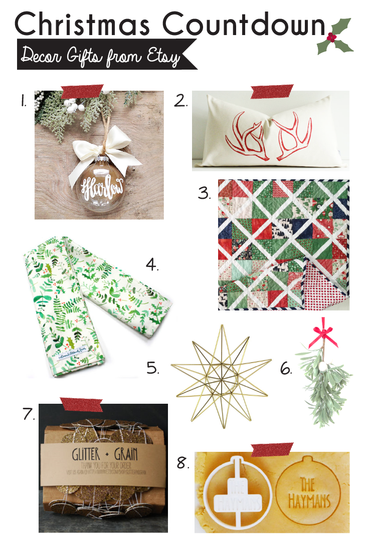 Christmas Countdown 8 Etsy Decor Gifts Gifts With Bows